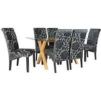 Very Venla 150 Cm Solid Wood And Glass Dining Table + 6 Oxford Chairs LRGHL