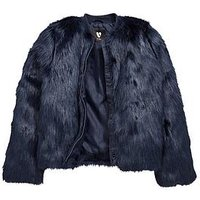 V by Very Faux Fur Jacket, Navy, Size Age: 13 Years, Women