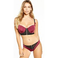 Pour Moi Pour Moi Contradiction Hook Up Underwired Bra, Black/Wine, Size 34G, Women