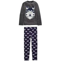 Boys, V by Very Ulfie Christmas Wolf single PJ, Navy/Charcoal, Size Age: 3 Years
