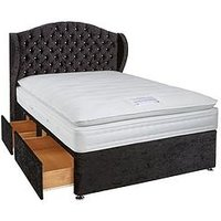 Product photograph showing Luxe Collection From Airsprung Bette 1000 Pocket Spring Pillowtop Divan With Mattress Options Includes Headboard
