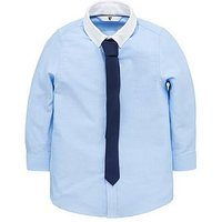 Boys, V by Very Contrast Collar Oxford Shirt with Navy Pindot Skinny Tie, Blue, Size 9 Years