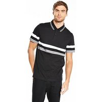 V by Very Colour Block Jersey Striped Polo, Black, Size S, Men