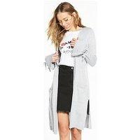 V by Very Tie Cuff Split Side Maxi Cardigan - Grey Marl, Grey Marl, Size 16-18, Women