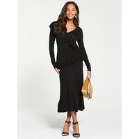 V by Very V-neck Ruffle Detail Fit And Flare Knitted Dress - Black, Black, Size 12, Women