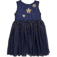 Mini V by Very Girls Pretty Navy Tutu Dress With Gold Stars, Navy, Size 3-4 Years, Women
