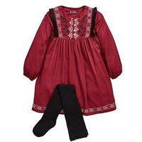 Mini V by Very Girls Embroided Folk Dress With Tights, Merlot, Size 9-12 Months, Women