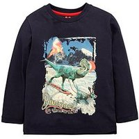 Mini V by Very Boys Christmas Dinosaur Long Sleeve Tshirt, Navy, Size Age: 3-6 Months