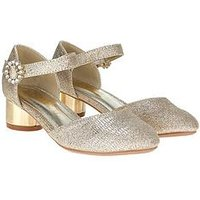 Monsoon 2 Part Diamante Buckle Jazz Shoe, Gold, Size 11 Younger