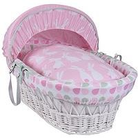 Clair De Lune Rabbits White Wicker Moses Basket, Pink