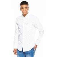 Tommy Jeans Long Sleeve Dobby Shirt, White, Size Xl, Men