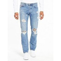 Tommy Jeans Straight Slater Jean, Light Wash, Size 34, Inside Leg Regular, Men