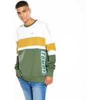 Tommy Jeans Colour Block Box Fit Sweat, Green, Size M, Men