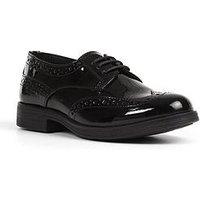 Geox Agata Girls Brogue School Shoe, Black, Size 10 Younger