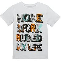 Boys, V by Very Homework Ruined My Life T-shirt, White, Size 14 Years