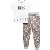 V by Very Boys Camo Jogger & Epic Tee Set, Grey Marl, Size 10 Years