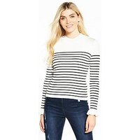 V by Very Skinny Rib Turtleneck Frill Cuff Jumper - Stripe, Stripe, Size 12, Women