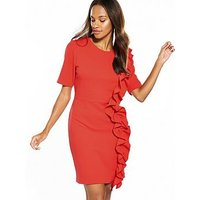 V by Very Frill Front Dress, Red, Size 8, Women