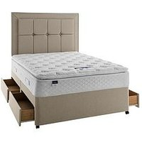 Product photograph showing Silentnight Miracoil 3 Tuscany Geltex Pillowtop Divan Bed With Storage Options - Medium Firm