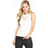 KAREN MILLEN Travelling Body Stitch Collection Top - Ivory, Ivory, Size S, Women