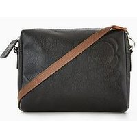 Orla Kiely Orla Kiely Leather Embossed Flower Small Crossbody, Black, Women