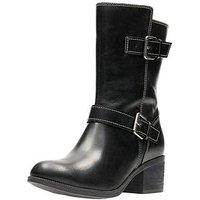 Clarks Clarks Maypearl Oasis Heeled Calf Biker Boot, Black, Size 8, Women