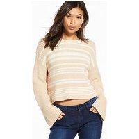 Calvin Klein Jeans Sohn Stripe Sweater - Cream/Tan, Cream Tan, Size L, Women