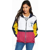 Tommy Jeans TJW Colour Block Jacket, Navy Blazer/Multi, Size 8=Xs, Women