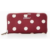 Cath Kidston Button Spot Continental Zip Wallet, Burgundy, Women