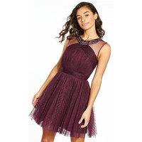 Little Mistress Petite Tule Mini Dress, Merlot, Size 14, Women