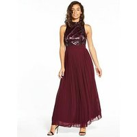 Little Mistress Little Mistress Petite Merlot Embellished Maxi, Merlot, Size 14, Women