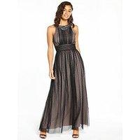 Little Mistress Petite Mesh Maxi Dress - Black, Black, Size 6, Women