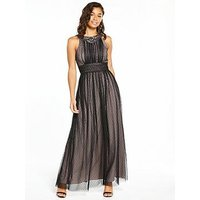 Little Mistress Petite Mesh Maxi Dress - Black