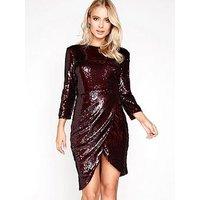 Little Mistress Sequin Wrap Front Dress, Merlot, Size 6, Women