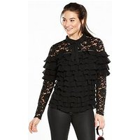 V by Very Ruffle Lace Tie Blouse, Black, Size 8, Women