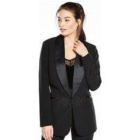 V by Very Longline Cornelli Tux Jacket, Black, Size 8, Women