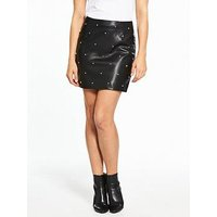 V by Very Star Pu A Line Skirt, Black, Size 8, Women