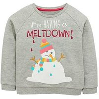 Mini V by Very Girls Snowman Christmas Sweater, Grey, Size Age: 9-12 Months, Women