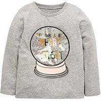 Mini V by Very Girls Glitter Snow Globe Christmas T-Shirt, Multi, Size Age: 6-9 Months, Women