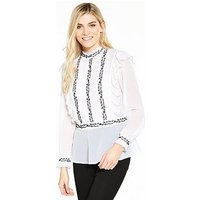 V by Very Monochrome Embroidered High Neck Ruffle Blouse, Ivory, Size 18, Women