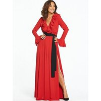Myleene Klass Contrast Tie Ruffle Front Maxi Dress, Red, Size 14, Women