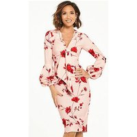 Myleene Klass Volume Sleeve Tie Front Pencil Dress, Print, Size 8, Women