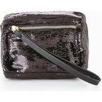 V by Very Mini Box Wristlet Clutch - Sequin, Black, Women