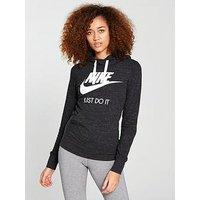 Nike Sportswear Gym Vintage Overhead Hoodie, Black/Cream, Size Xs, Women