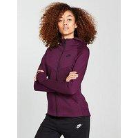 Nike Sportswear Tech Fleece Full Zip Hoodie, Burgundy/Black, Size Xs, Women