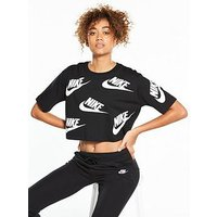 Nike Sportswear Futura Crop Top, Black/White, Size L, Women