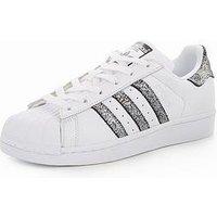 adidas Originals Superstar, White/Glitter, Size 6, Women