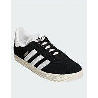 adidas Originals Gazelle Junior Trainer, Black/White, Size 5