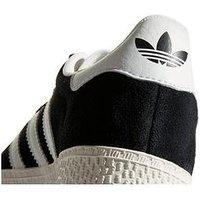 adidas Originals Gazelle Childrens Trainer - Black/White , Black, Size 10