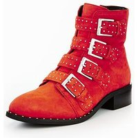 V by Very Nina Suede Casual Studded Ankle Boot - Red, Red, Size 8, Women